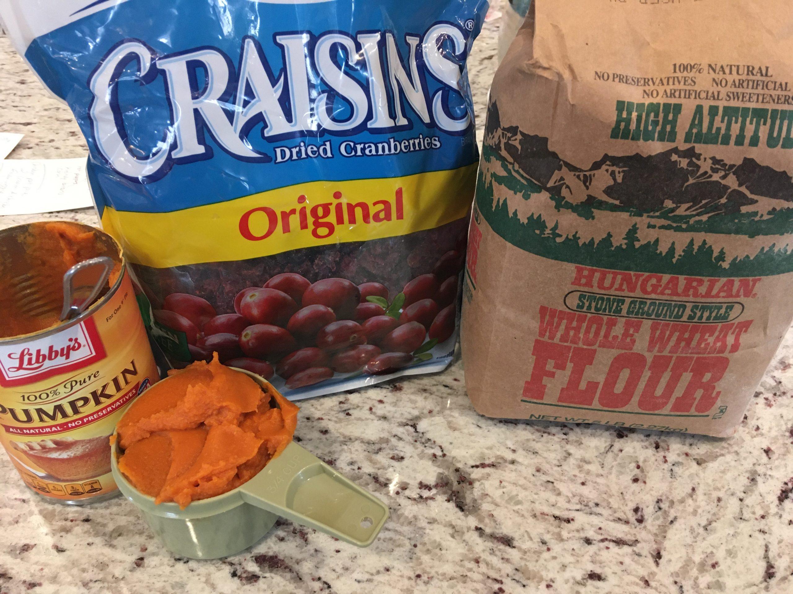Pumpkin cranberry puppy bites